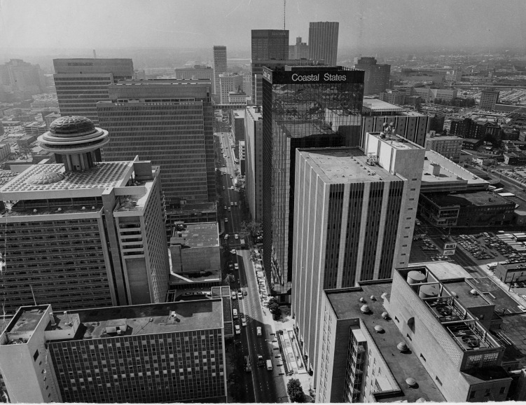 1960s - Aerial view of the heart of downtown Atlanta.