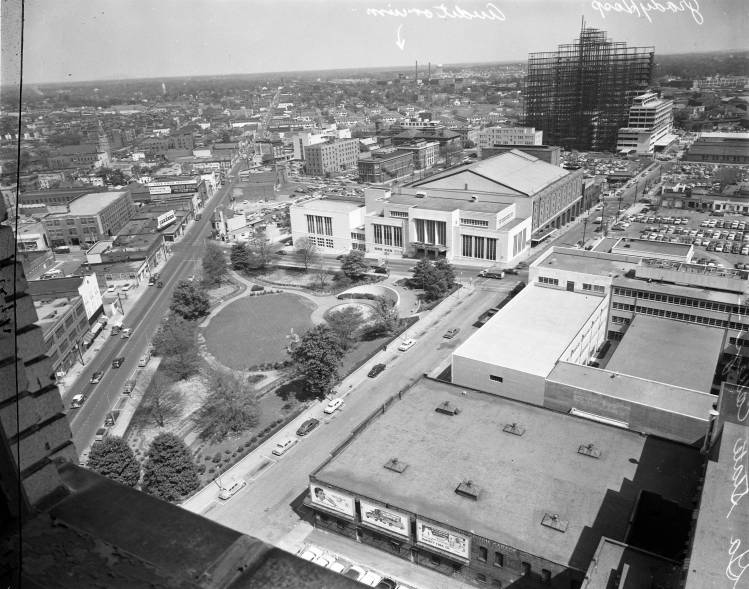 Looking northeast from the Hurt Building, Atlanta, Georgia, April 1955. In the upper right, you can see construction on the new Grady Memorial Hospital building (opened in in 1956). Photo: Charles R. Pugh. Atlanta Journal-Constitution Photographic Archives. Special Collections and Archives, Georgia State University Library.